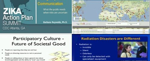 A series of slides from presentations and webinars on Crisis and Emergency Risk Communication.