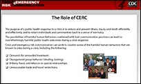 A slide from the CERC Online Training.