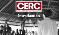 A group of people in an African village learning CERC from a CDC trainer