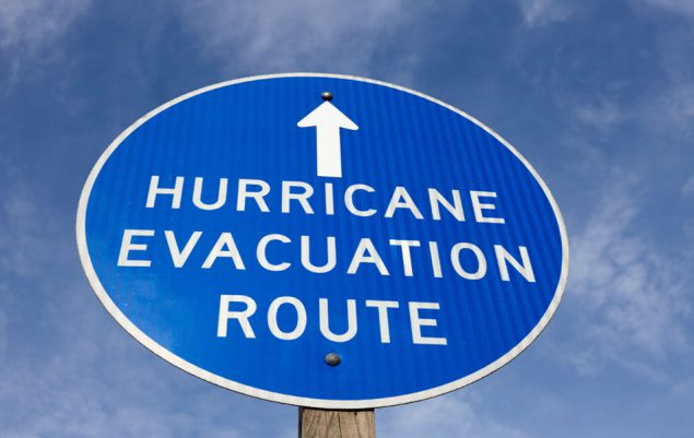 Hurricane evacuation sign.
