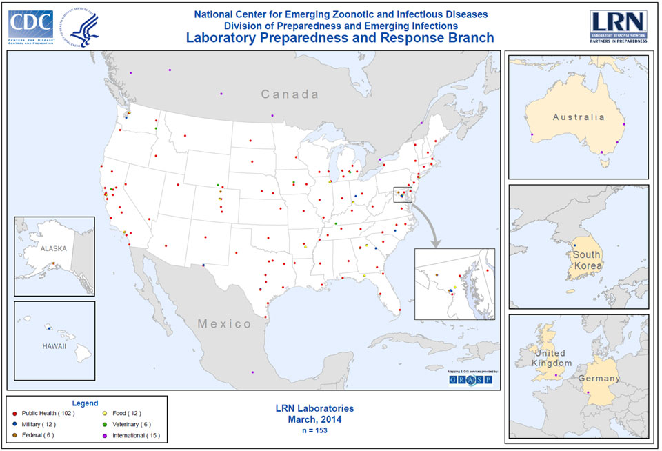 Map of Coverage of the Laboratory Response Network in the United States