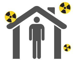 Icon of a person indoors during a radiation emergency