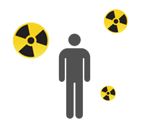 Icon of a person outside during a radiation emergency