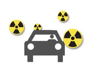 Icon of a person in a car during a radiation emergency
